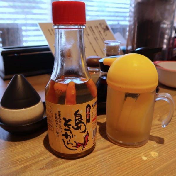 テーブル調味料 油そば用にコーレーグースと酢