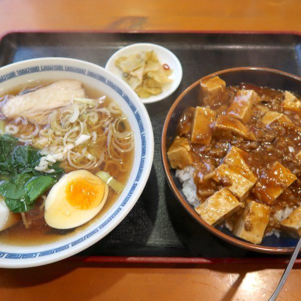 麻婆丼とラーメンセット(850円)