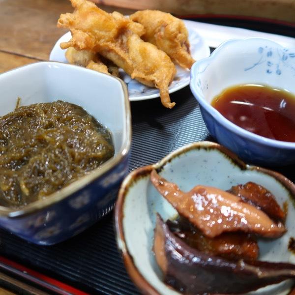 もずく、タコの煮付け、天ぷら